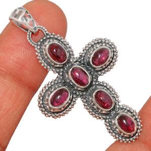 Cross - Garnet 925 Sterling Silver Pendant Jewelry BP8581