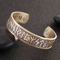 Stainless Steel Wide Open Cuff Bangle Bracelet Viking Nordic Runes