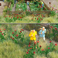 OO/HO Poppies for flower garden/field scenery, 80 plants Busch 1255 free post F1