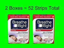 2 X Breathe Right Nasal Strips - Extra - 50% Stronger  52 Tan Strips Total SLEEP