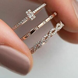 3PCS Charm Crystal Thin Stackable Twisted Women Solitaire Plated Rings Rose Gold