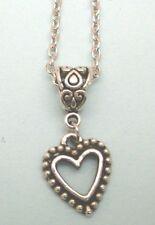 collier chaine argenté 46,5 cm avec pendentif coeur 18x15