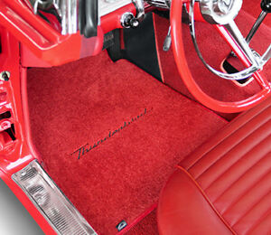 LLOYD FLOOR MATS Black ULTIMAT Red embroidery fits 1955 to 1957 Ford Thunderbird