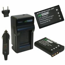 Wasabi Power Battery (2-Pack) and Charger for Casio NP-90