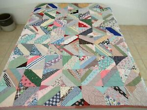 """NICE Vintage Hand Sewn Floral Feed Sack + Novelty Prints STRING Quilt; 74"""" x 71"""""""