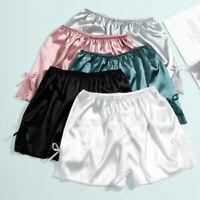 Women Lace Lingerie Silk Satin Pajama Shorts Sleepwear Bottoms Panties Underwear