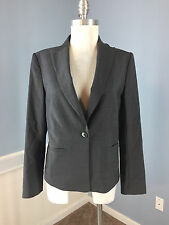 Ann Taylor M 10 P charcoal Gray Wool Blazer Career Cocktail Classic Euc Wow