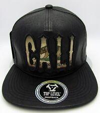 CALIFORNIA REPUBLIC Snapback Cap Hat CA CALI Bear Flag Faux Leather Black NWT