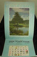 1952 Esquire Calendar Salesman Sample Calendar Country Scene Cows Lillian Green