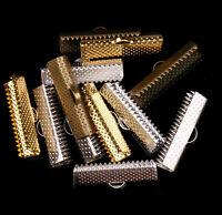 50pcs Many Size Silver/Golden/Bronze Over Clip Tip Cord Crimp End Bead Cap