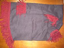 Uilleann black suede burgundy bullion fringe bag cover
