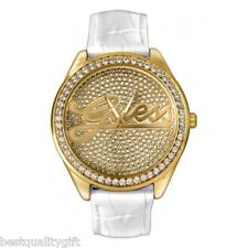 NEW GUESS WHITE LEATHER & GOLD+CRYSTALS GLITZ DIAL WATCH U75033L5