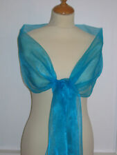 Turquoise/Aqua Shimmer Organza Wrap/stole bridesmaid/evening wear/prom