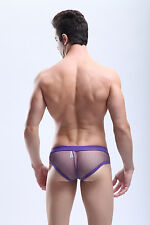 Slip taille L violet maille transparent  Manview by NEOFAN sheer sexy Ref M07