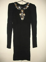 FRENCH CONNECTION BLACK BEADED SLEEVED SUMMER COCKTAIL PARTY NIGHTCLUB DRESS Sz0