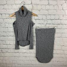 Gray Ribbed Turtleneck Cold Shoulder Skirt Set Long Sleeve Size S 2 PC