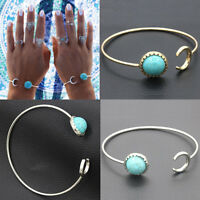 Fashion Vintage Women Gold Silver Turquoise Punk Bangle Cuff Bracelet Jewelry