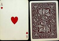 Bicycle 808 Playing Card- Brown Oak Leaf Back Acorn - 1890s Ace of Hearts