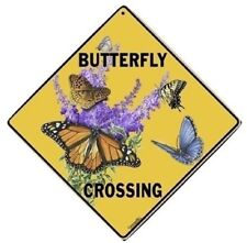 "BUTTERFLY Crossing Sign, 12"" on sides, 16"" on Diagonal, Aluminum, Indoor/Ourdoor"
