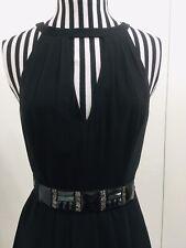 New Ted Baker Little Black Dress Silk Beaded Belt Racer Back Size 2 Party