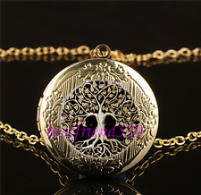 Metal Tree of Life Cabochon Glass Gold Plating Locket Pendant Necklace