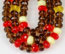 25 Czech Brown Orange Cream Faceted Fire Polished Rondelle Glass Beads 6x9mm