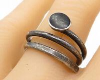 MEXICO 925 Sterling Silver - Vintage Black Onyx Swirl Wrap Ring Sz 9 - R6088