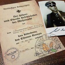 Knights Cross of Iron Cross document: German Waffen General Kurt Meyer + photo