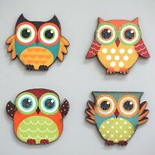 Wood Owl Magnetic Decoration Owl Lover Kitchen Magnets Set of 4 Free Shipping