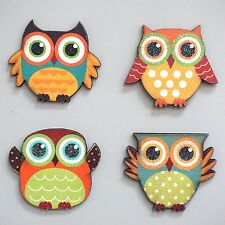 Wood Owl Magnetic Decoration Kitchen Magnets Decor Set of 4