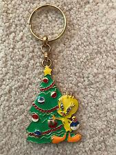Tweety Bird Decorating Christmas Tree Metalic Keychain