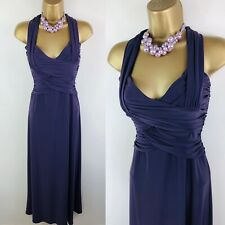 Ladies PHASE EIGHT Size 8 Purple Maxi Dress Ruched Full Length Evening Gown