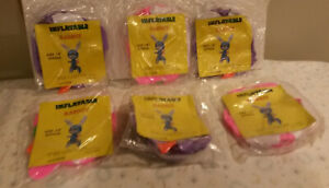 vintage lot 6 NOS Inflatable rabbit pink purple Easter Spring 18' tall n package
