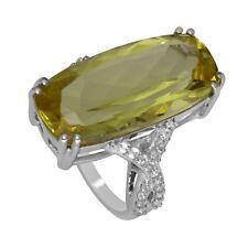 17.90 Ct Lemon Quartz Ring Cluster Ring 925 Sterling Silver 8.9Gm US-7 Xmas Gift