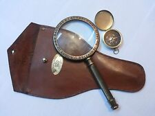 antique brass magnifying glass vintage magnifier leather cover with compass
