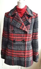 Wool Mohair Alpaca Blend Jacket Coat Womens UK 14 Red Black Check Fitted VGC