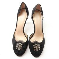 Vera Wang Truffle Black RN73277 Pumps High Heels Shoes Size 7 M Rhinestone Nice!