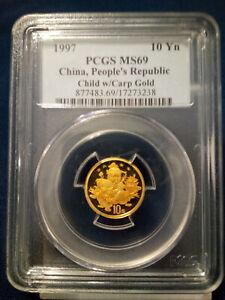 1997 PCGS China People's Republic Gold Child w/Carp MS69, 10 Yuan  POP 27