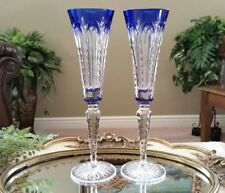 FABERGE SET OF 2 Grand Palais Blue Cut to Clear Crystal Champagne Flute Glasses