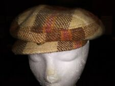 J Crew Cabbie Newsboy Cap Plaid Brown Rust Green Tan Size S/M Unisex NEW