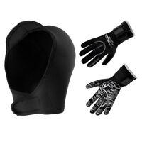 Neoprene Hood Cap + Wetsuit Gloves for Scuba Diving Kayak Surf Water Sports