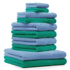 Betz 10-tlg. Handtuch-Set CLASSIC 100% Baumwolle smaragdgrün & hellblau