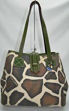 Dooney & Bourke Giraffe Canvas Green Leather Trim Tote Bag With ID Holder Case