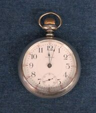 American Waltham 18s Pocket Watch 1883, 17j w/Sterling Railroad Case Runs!