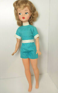"""Vintage IDEAL Tammy Doll : 12"""" Barbie Clone : HIgh Color : Nipples : Blue Outfit"""