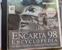 Microsoft Encarta 98 Encyclopedia SINGLE DISK EDITION Pre-owned Free Shipping