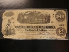 """""""100"""" Confederate States Of America """"One Hindred Dollars"""" Reverse Stamped"""