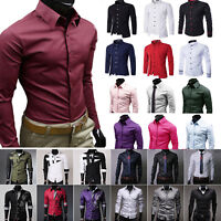 Mens Formal Business Slim Fit Shirt Modern Casual Long Sleeve Tops Blazer Blouse