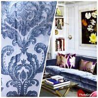 Designer Damask Burnout Chenille Velvet Fabric - Jewel Blue BTY
