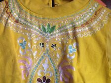 Vintage NOS Yellow india 1960s Embroidered JOHN MEYER NORWICH Dress MOD Size 10